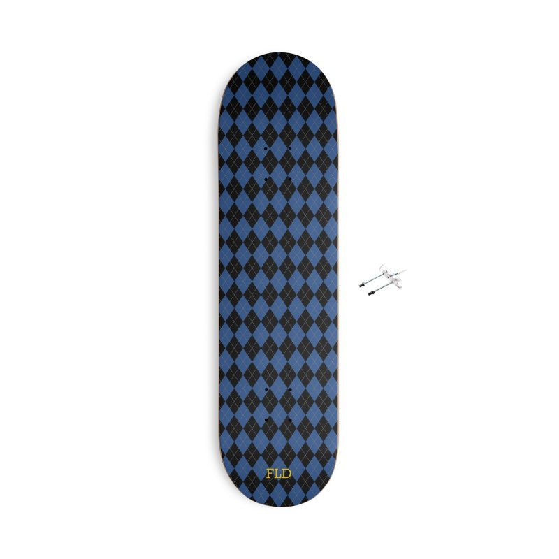 Black And Blue Argyle Accessories With Hanging Hardware Skateboard by falconlara.design shop