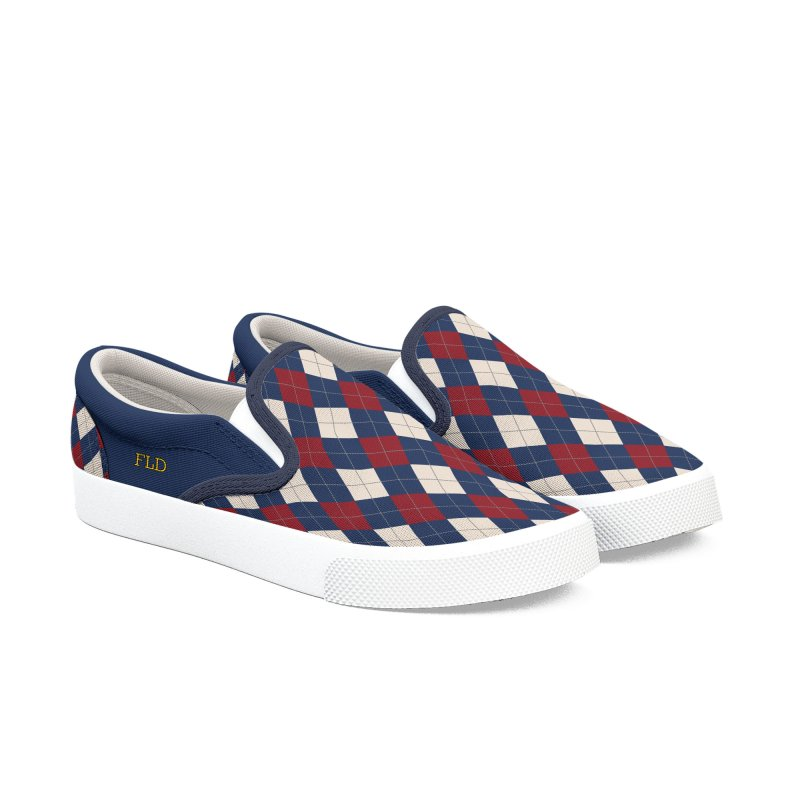 FLD Burgundy Sand Blue Argyle Men's Slip-On Shoes by falconlara.design shop