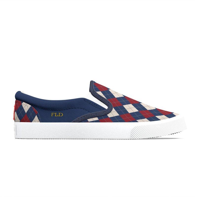 FLD Burgundy Sand Blue Argyle Women's Shoes by falconlara.design shop