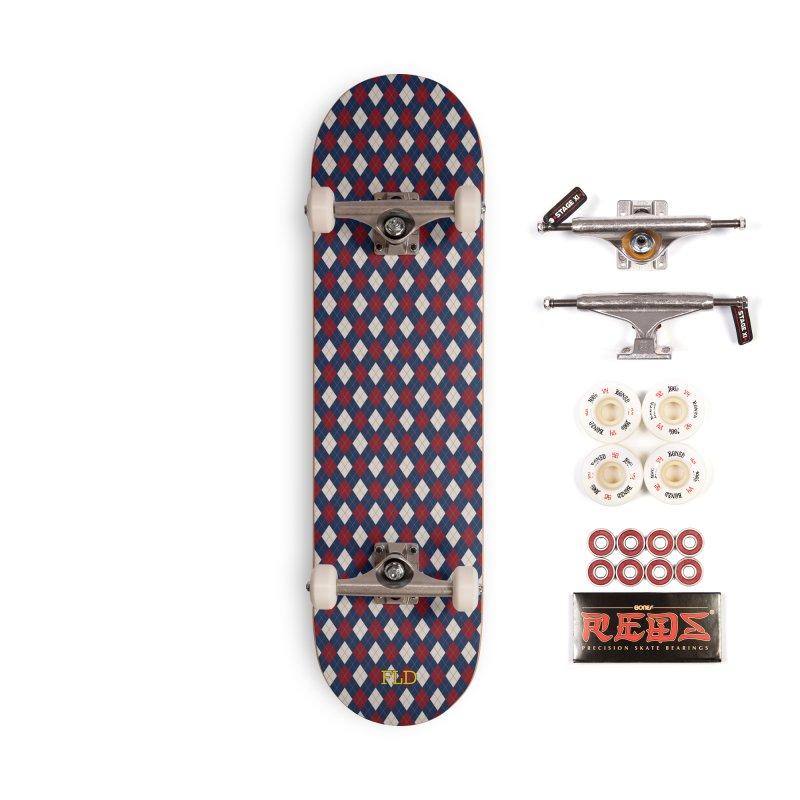 FLD Burgundy Sand Blue Argyle Accessories Complete - Pro Skateboard by falconlara.design shop
