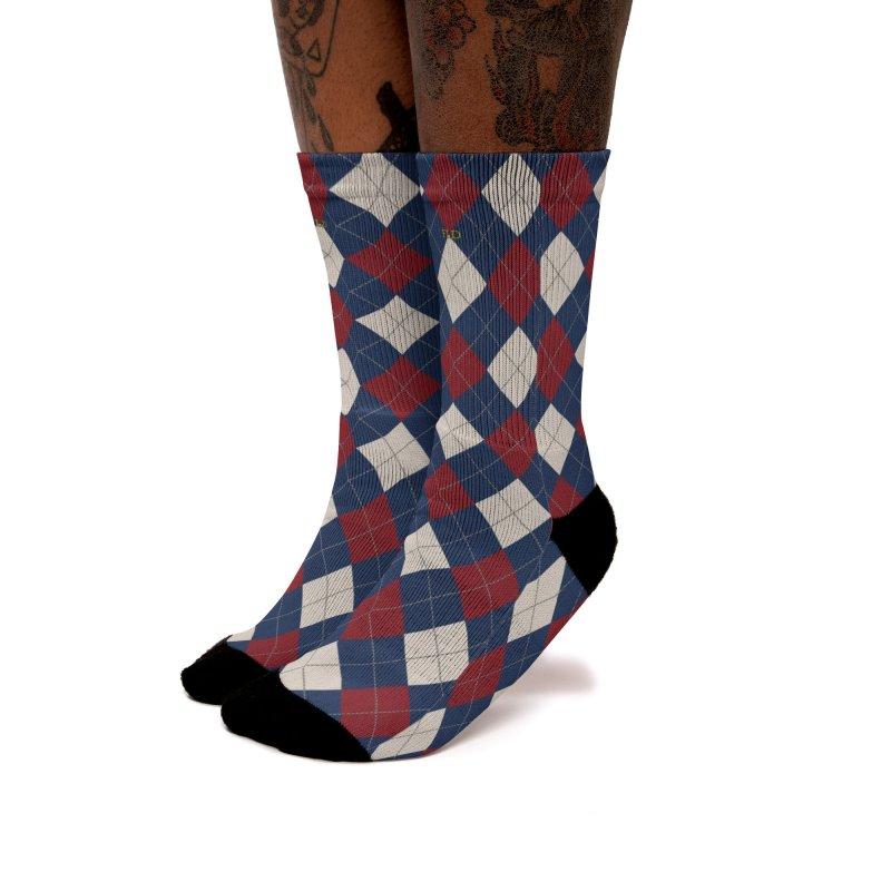 FLD Burgundy Sand Blue Argyle Women's Crew Socks by falconlara.design shop