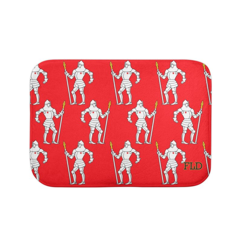 Red Shield Knight Emblem Home Bath Mat by falconlara.design shop