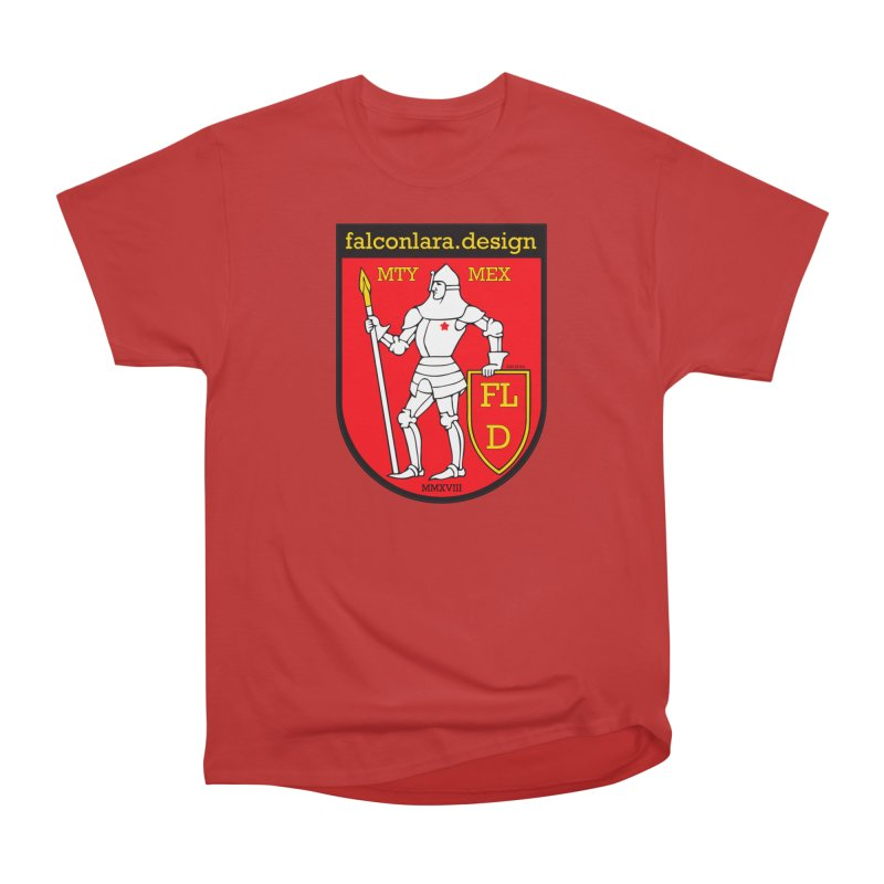 Red Shield Knight Emblem Men's Heavyweight T-Shirt by falconlara.design shop