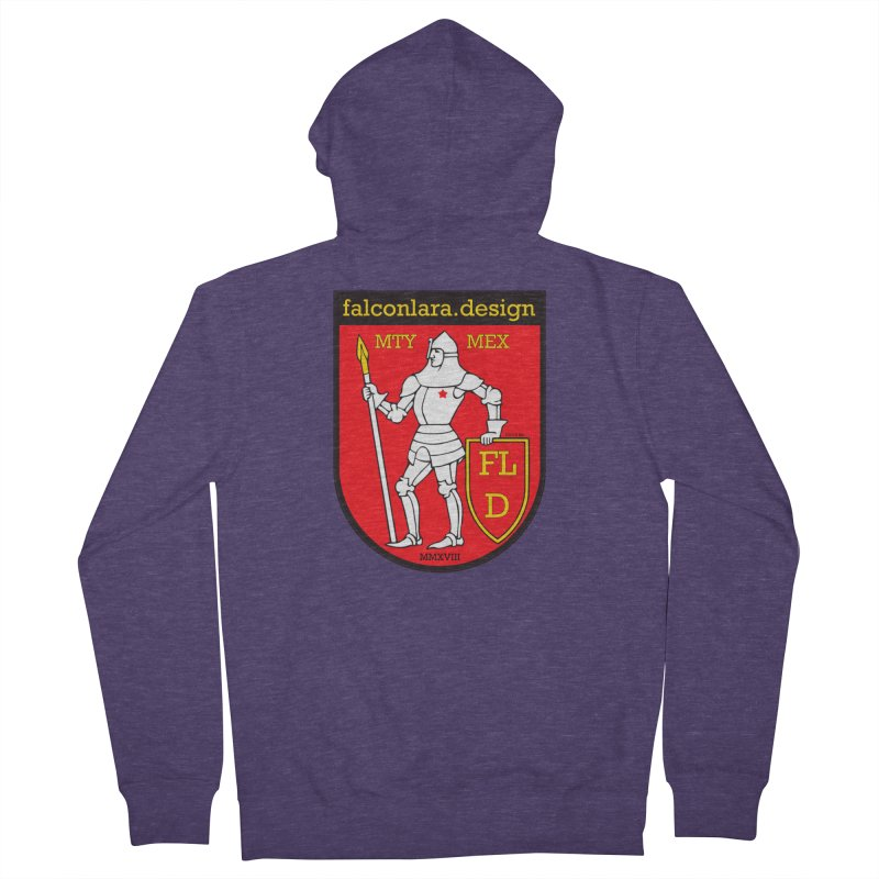 Red Shield Knight Emblem Men's French Terry Zip-Up Hoody by falconlara.design shop