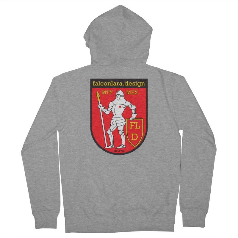 Red Shield Knight Emblem Men's French Terry Zip-Up Hoody by falconlara.design shop