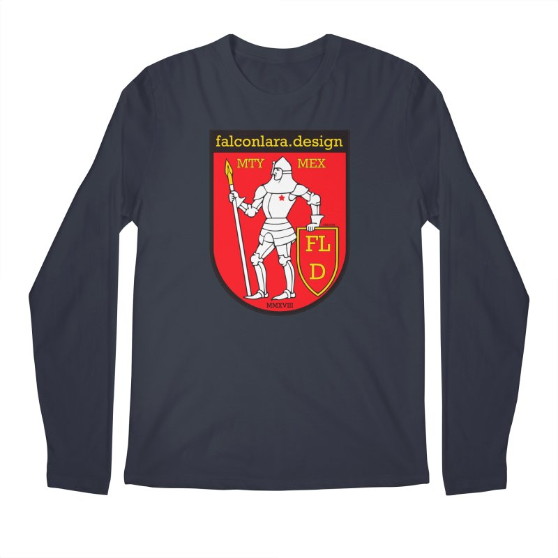 Red Shield Knight Emblem Men's Regular Longsleeve T-Shirt by falconlara.design shop