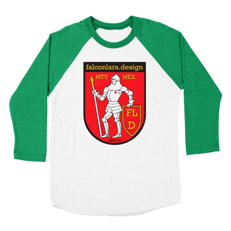 Red Shield Knight Emblem Men's Baseball Triblend Longsleeve T-Shirt by falconlara.design shop