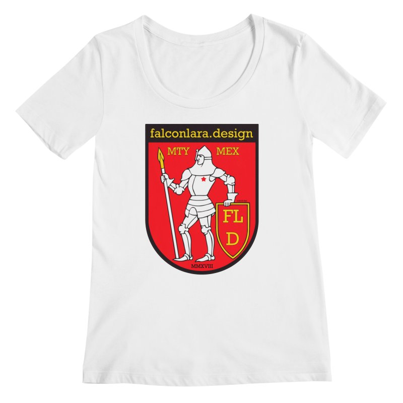 Red Shield Knight Emblem Women's Regular Scoop Neck by falconlara.design shop
