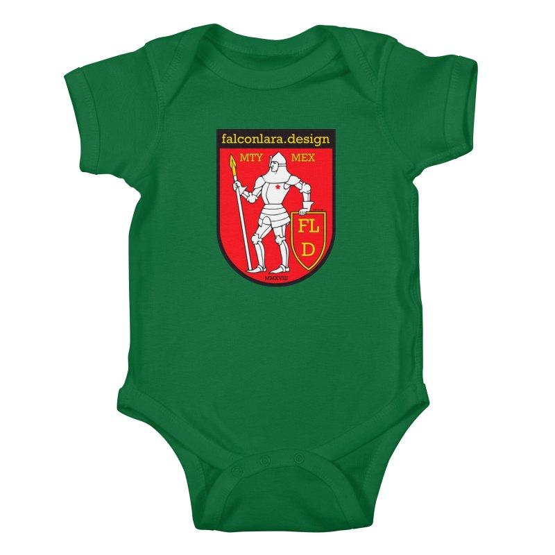 Red Shield Knight Emblem Kids Baby Bodysuit by falconlara.design shop