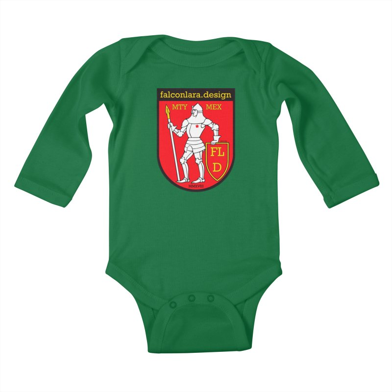 Red Shield Knight Emblem Kids Baby Longsleeve Bodysuit by falconlara.design shop