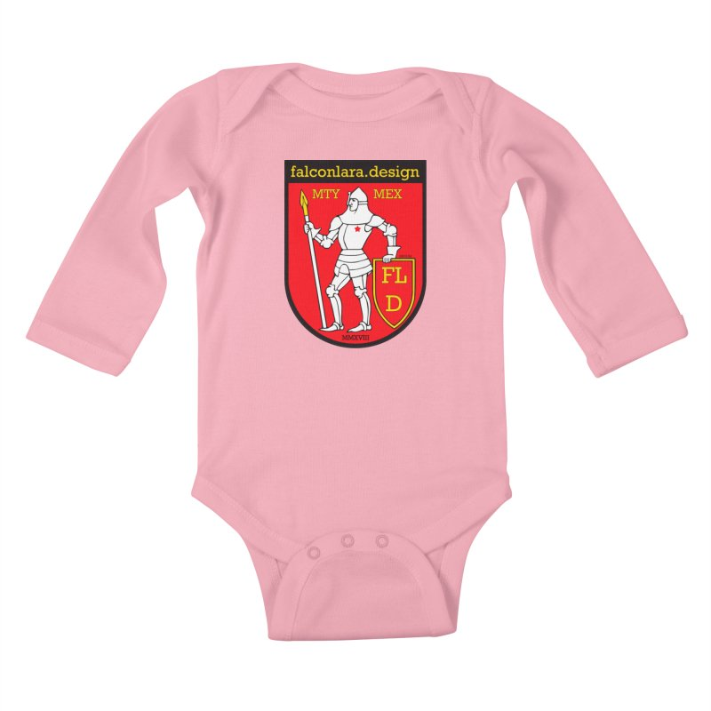 Red Shield Knight Emblem Kids Baby Longsleeve Bodysuit by falconlara.design shop
