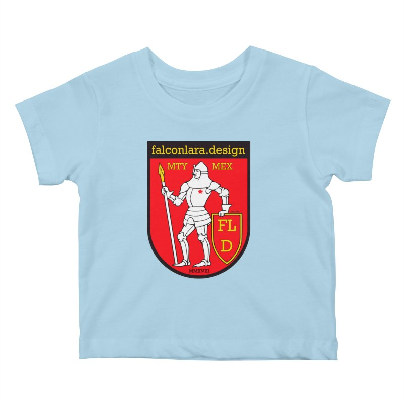 Red Shield Knight Emblem Kids Baby T-Shirt by falconlara.design shop