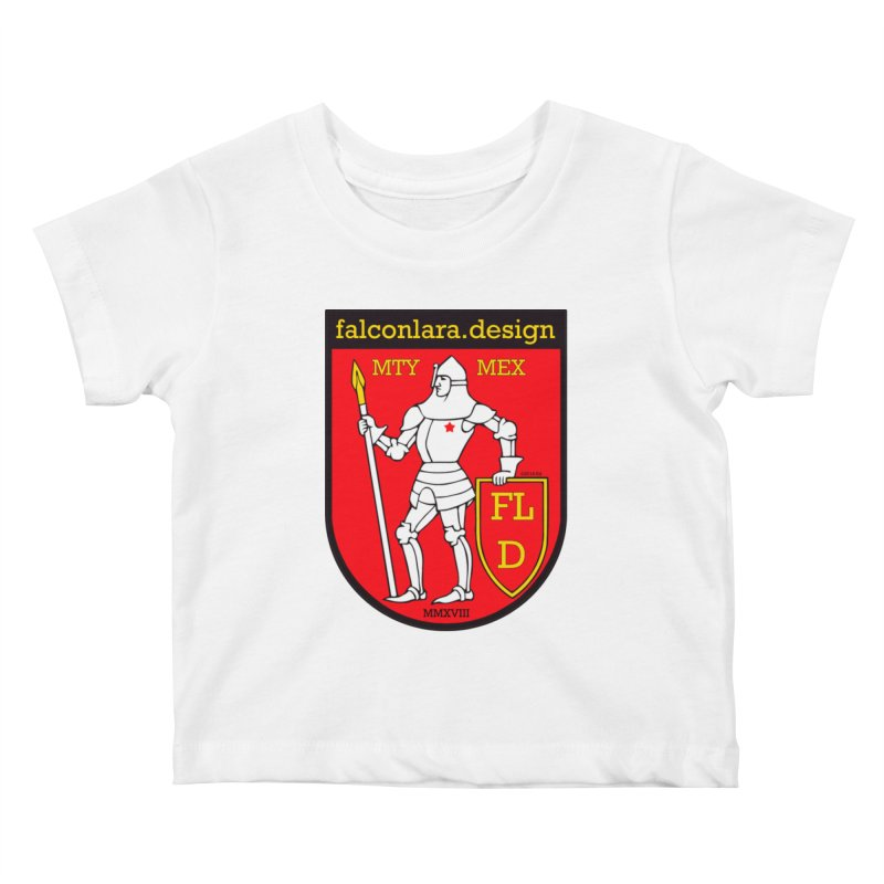 Red Shield Knight Emblem Kids Baby T-Shirt by falconlara.design shop