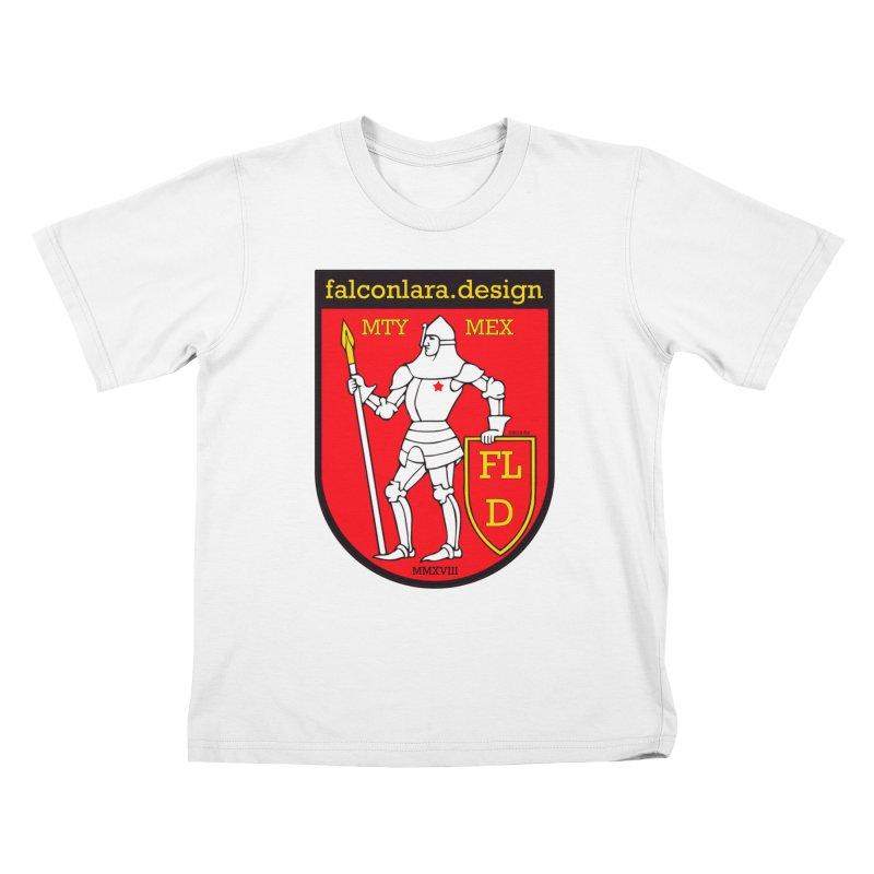 Red Shield Knight Emblem Kids T-Shirt by falconlara.design shop