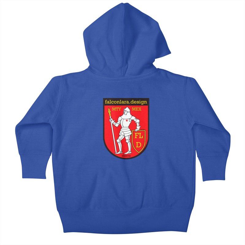 Red Shield Knight Emblem Kids Baby Zip-Up Hoody by falconlara.design shop