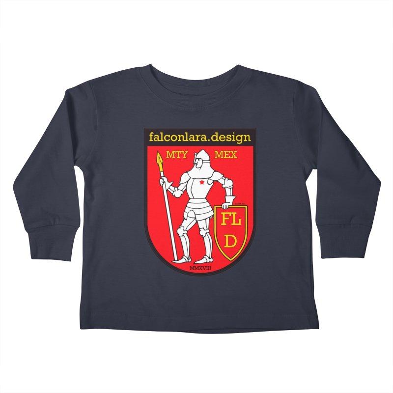 Red Shield Knight Emblem Kids Toddler Longsleeve T-Shirt by falconlara.design shop