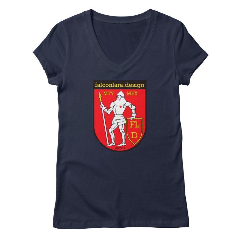 Red Shield Knight Emblem Women's Regular V-Neck by falconlara.design shop