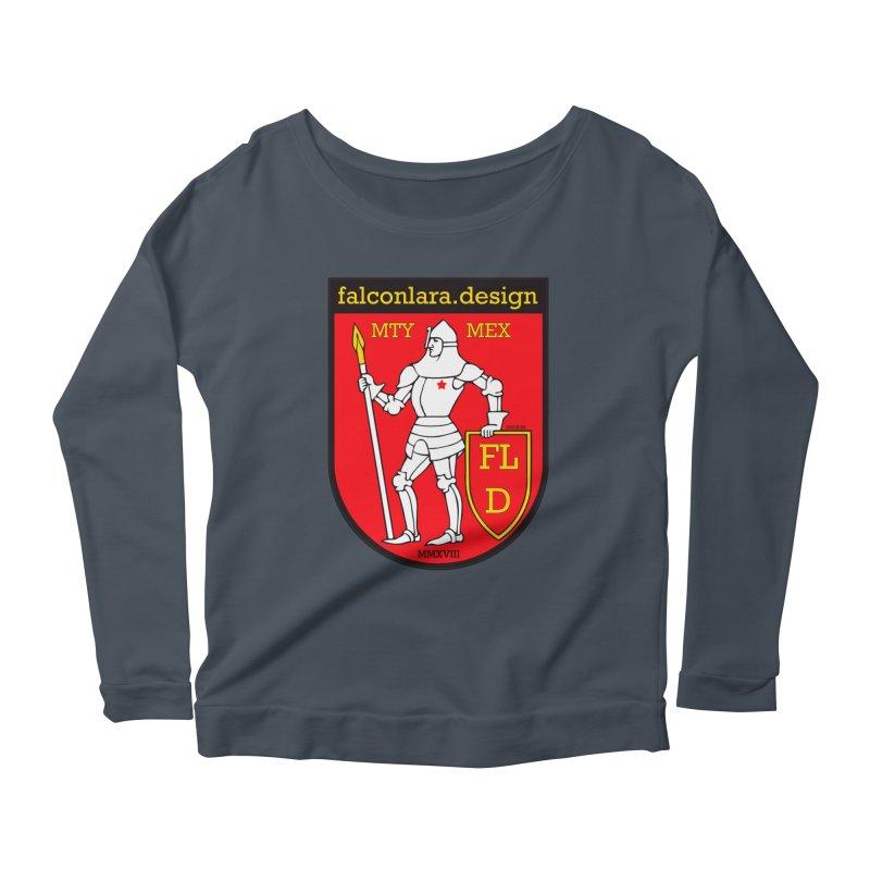 Red Shield Knight Emblem Women's Scoop Neck Longsleeve T-Shirt by falconlara.design shop