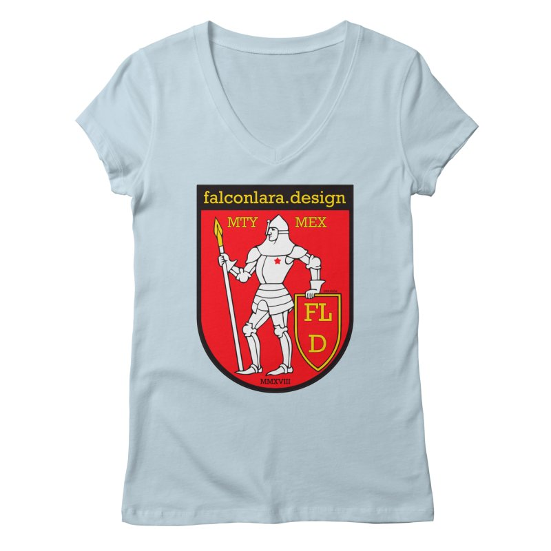 Red Shield Knight Emblem Women's Regular V-Neck by falconlara.design shop