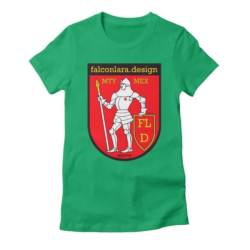 Red Shield Knight Emblem Women's Fitted T-Shirt by falconlara.design shop