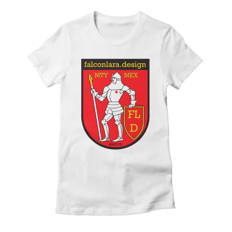 Red Shield Knight Emblem Women's Fitted T-Shirt by falconlara.design shop