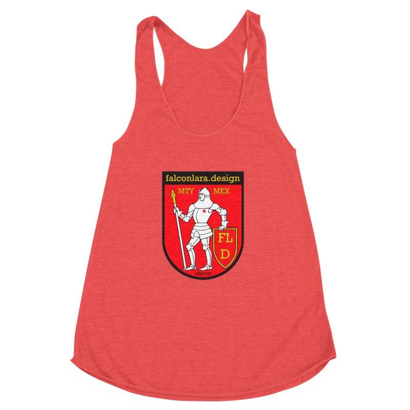 Red Shield Knight Emblem Women's Racerback Triblend Tank by falconlara.design shop