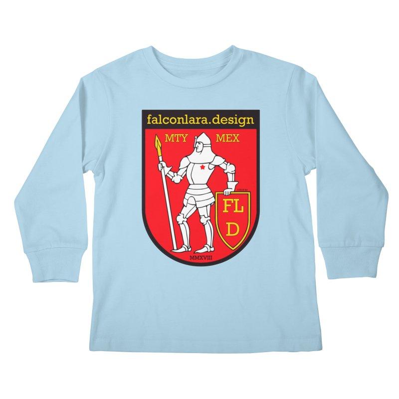 Red Shield Knight Emblem Kids Longsleeve T-Shirt by falconlara.design shop