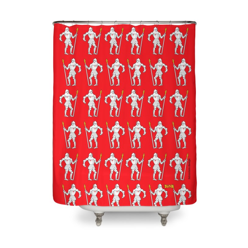 Red Shield Knight Emblem Home Shower Curtain by falconlara.design shop