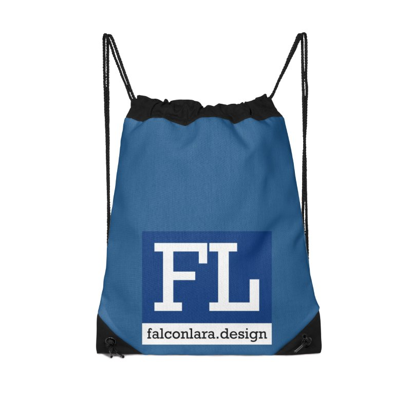 FL Design Blue Logo Accessories Drawstring Bag Bag by falconlara.design shop