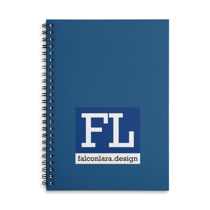 FL Design Blue Logo Accessories Lined Spiral Notebook by falconlara.design shop