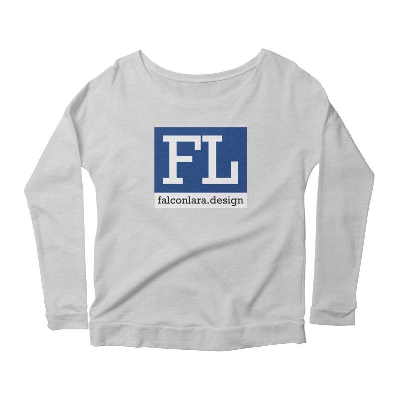 FL Design Blue Logo Women's Scoop Neck Longsleeve T-Shirt by falconlara.design shop