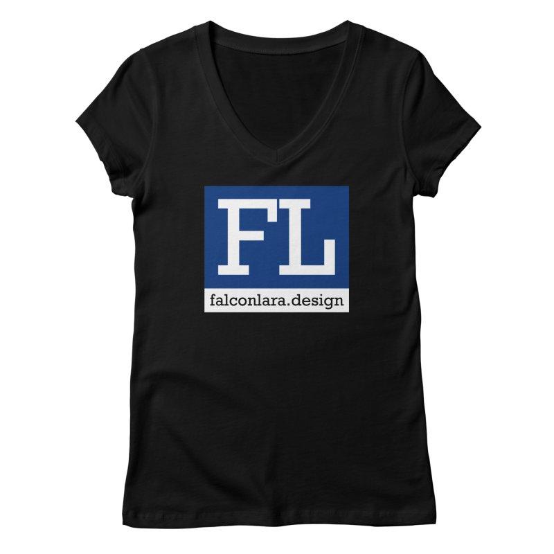 FL Design Blue Logo Women's Regular V-Neck by falconlara.design shop