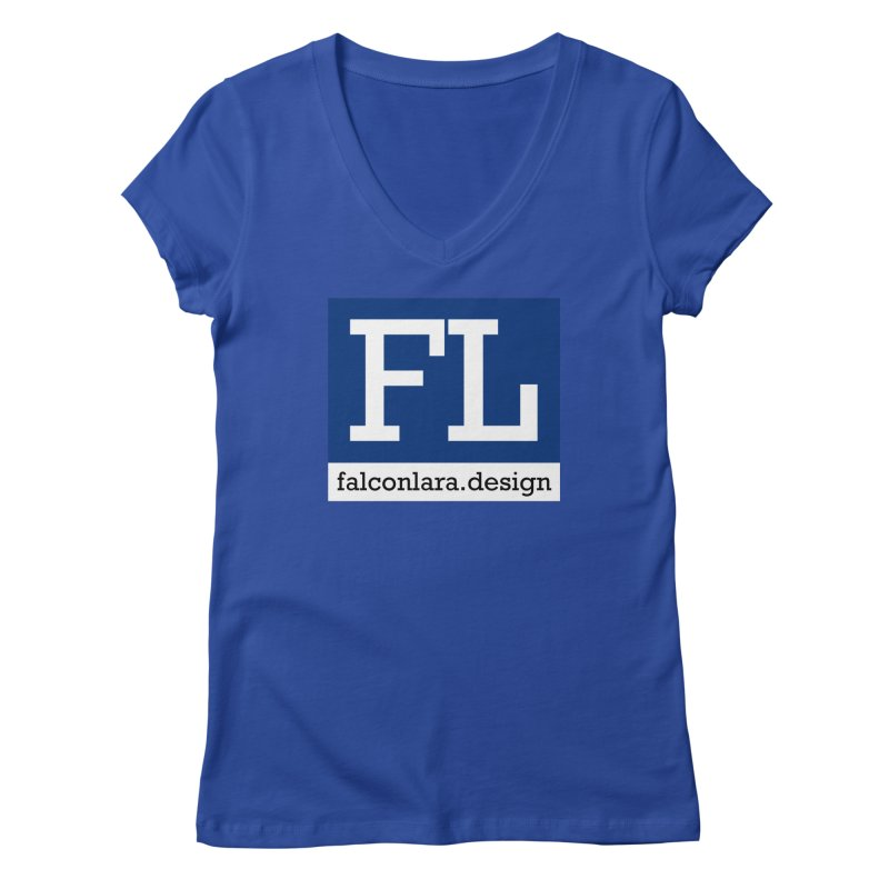 FL Design Blue Logo Women's Regular V-Neck by falconlara.design shop