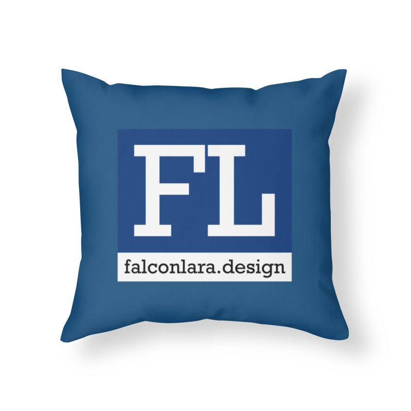FL Design Blue Logo Home Throw Pillow by falconlara.design shop