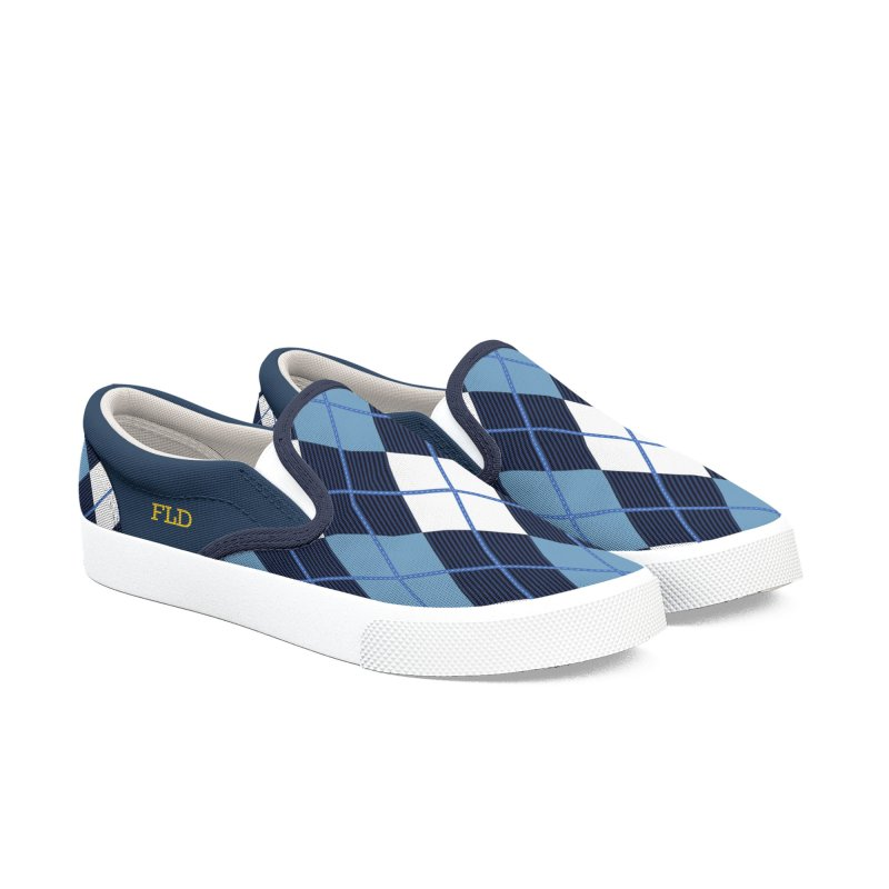 FLD Argyle Blue Shoes Women's Slip-On Shoes by falconlara.design shop