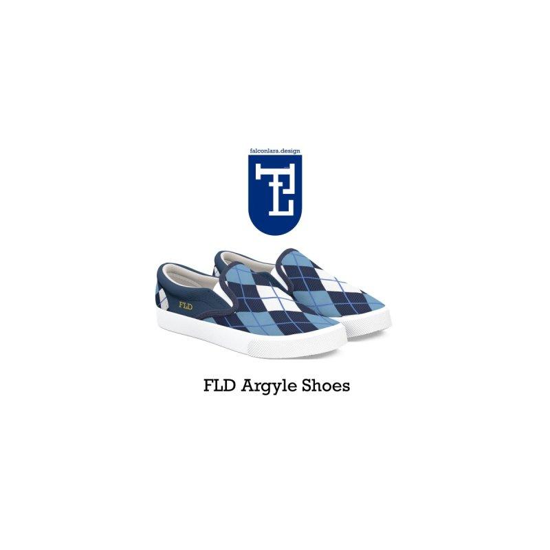 FLD Argyle Blue Shoes Men's Shoes by falconlara.design shop