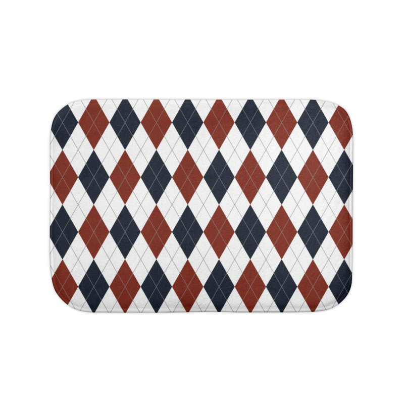 FLD Blue Red Argyle Home Bath Mat by falconlara.design shop