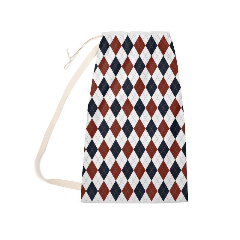 FLD Blue Red Argyle Accessories Bag by falconlara.design shop