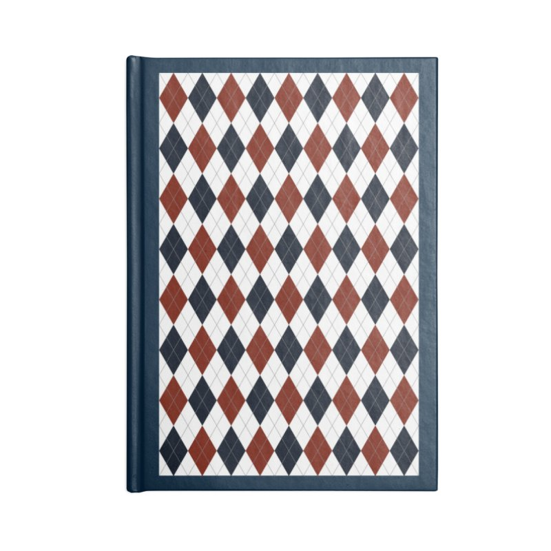 FLD Blue Red Argyle Accessories Blank Journal Notebook by falconlara.design shop