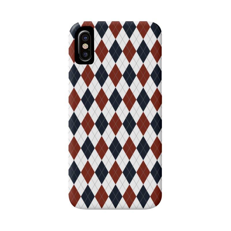 FLD Blue Red Argyle Accessories Phone Case by falconlara.design shop