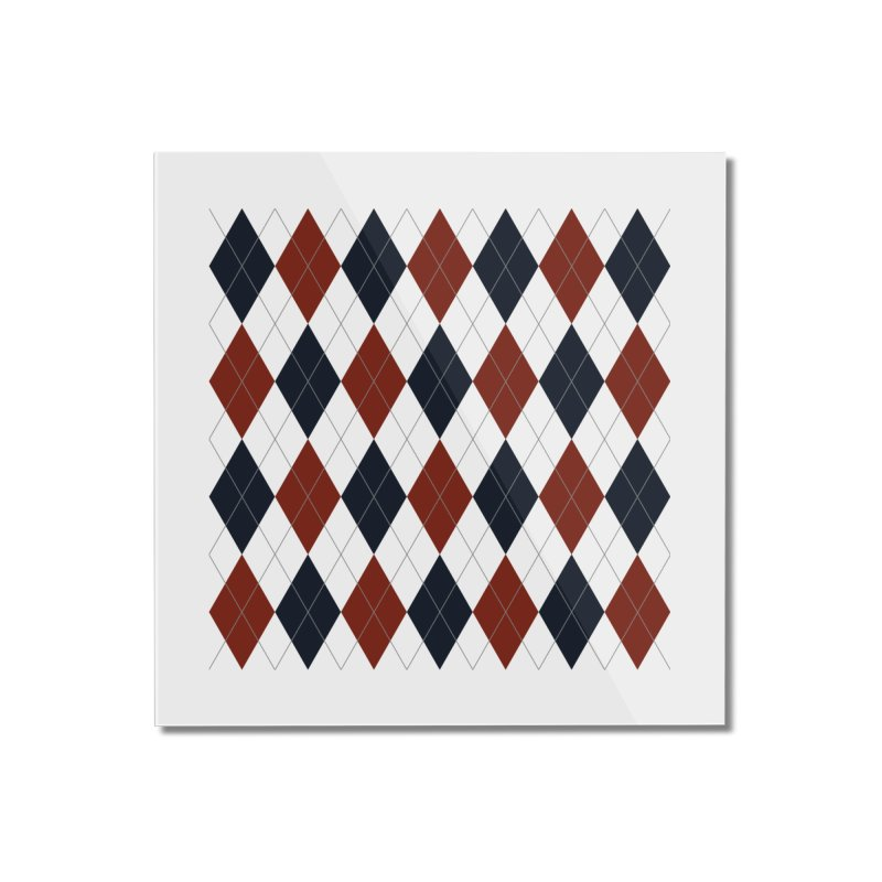 FLD Blue Red Argyle Home Mounted Acrylic Print by falconlara.design shop