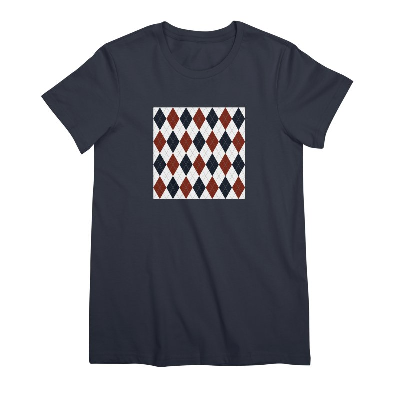 FLD Blue Red Argyle Women's Premium T-Shirt by falconlara.design shop