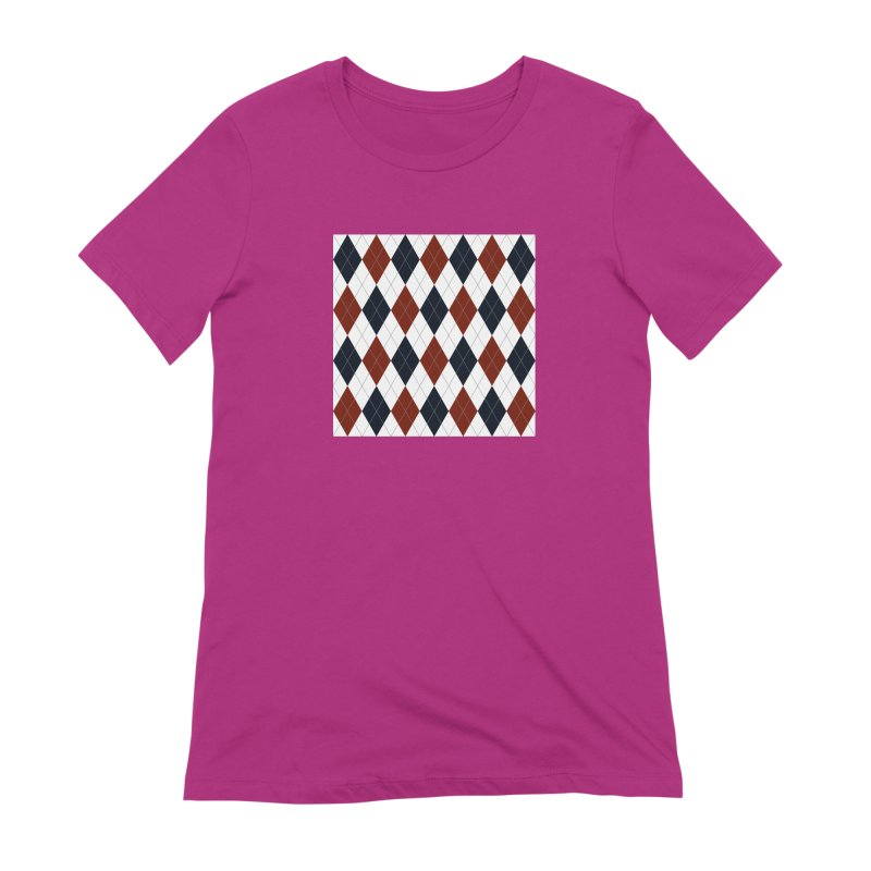 FLD Blue Red Argyle Women's Extra Soft T-Shirt by falconlara.design shop