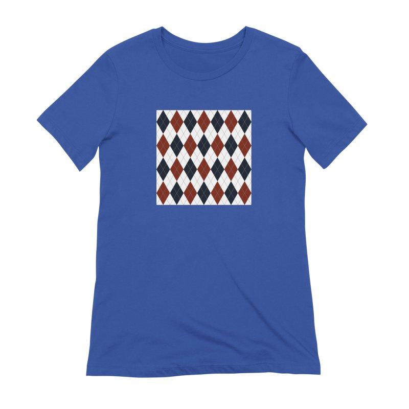 FLD Blue Red Argyle Women's Extra Soft T-Shirt by falconlara.design shop