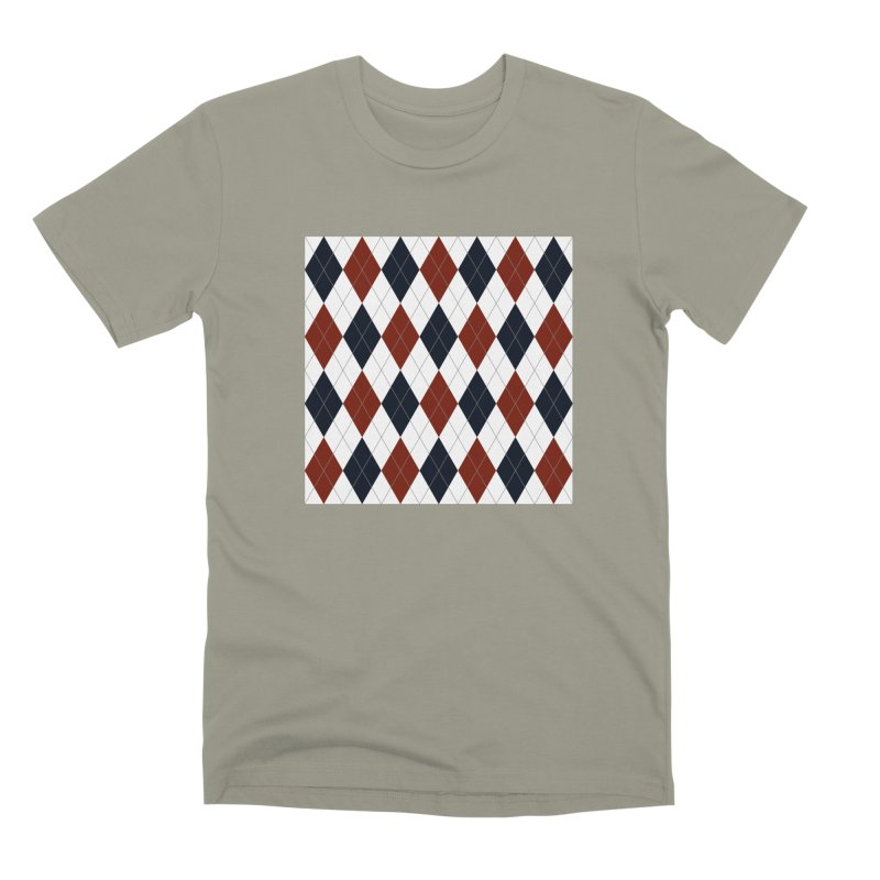 FLD Blue Red Argyle Men's Premium T-Shirt by falconlara.design shop