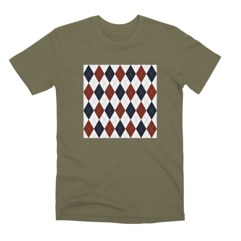 FLD Blue Red Argyle Men's Premium T-Shirt by falconlara.design shop