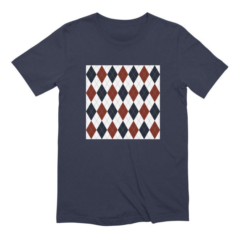 FLD Blue Red Argyle Men's Extra Soft T-Shirt by falconlara.design shop