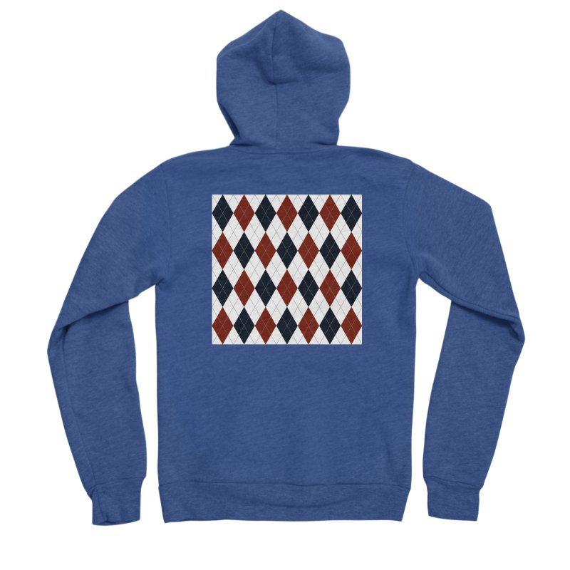 FLD Blue Red Argyle Women's Sponge Fleece Zip-Up Hoody by falconlara.design shop