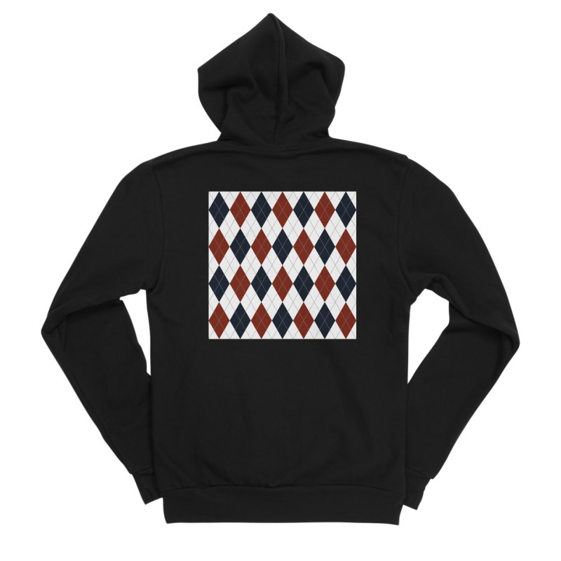 FLD Blue Red Argyle Men's Sponge Fleece Zip-Up Hoody by falconlara.design shop