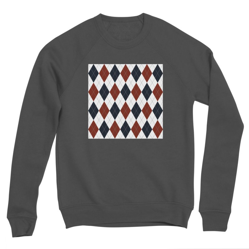 FLD Blue Red Argyle Men's Sponge Fleece Sweatshirt by falconlara.design shop